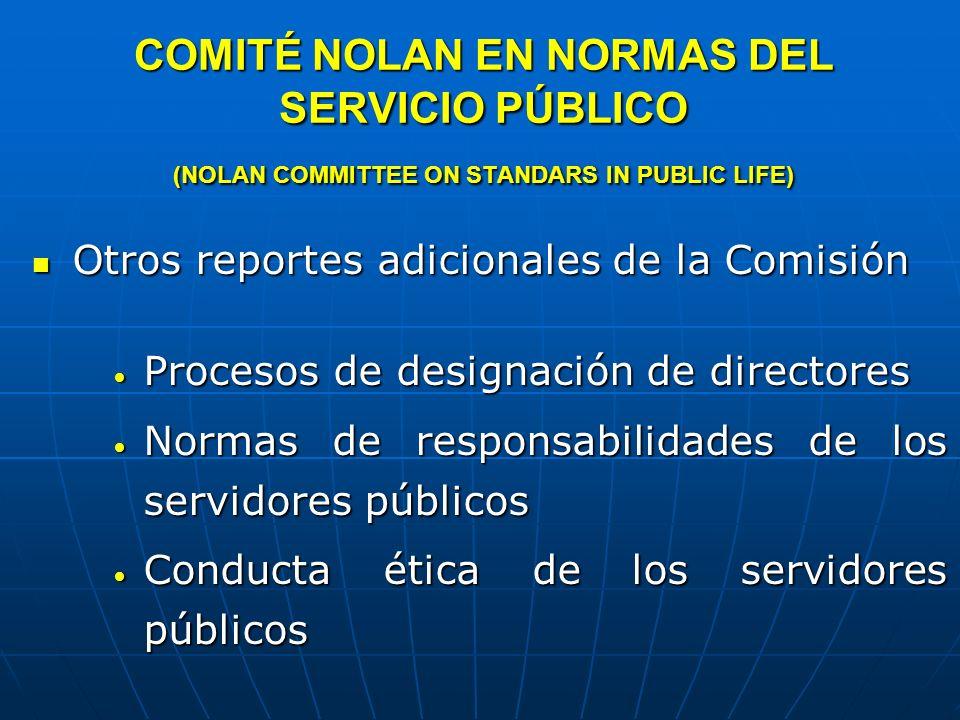 COMITÉ NOLAN EN NORMAS DEL SERVICIO PÚBLICO (NOLAN COMMITTEE ON STANDARS IN PUBLIC LIFE)