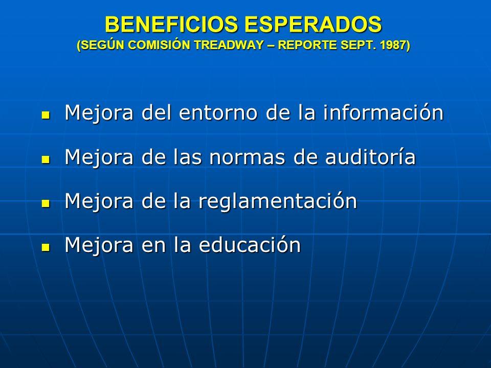 BENEFICIOS ESPERADOS (SEGÚN COMISIÓN TREADWAY – REPORTE SEPT. 1987)