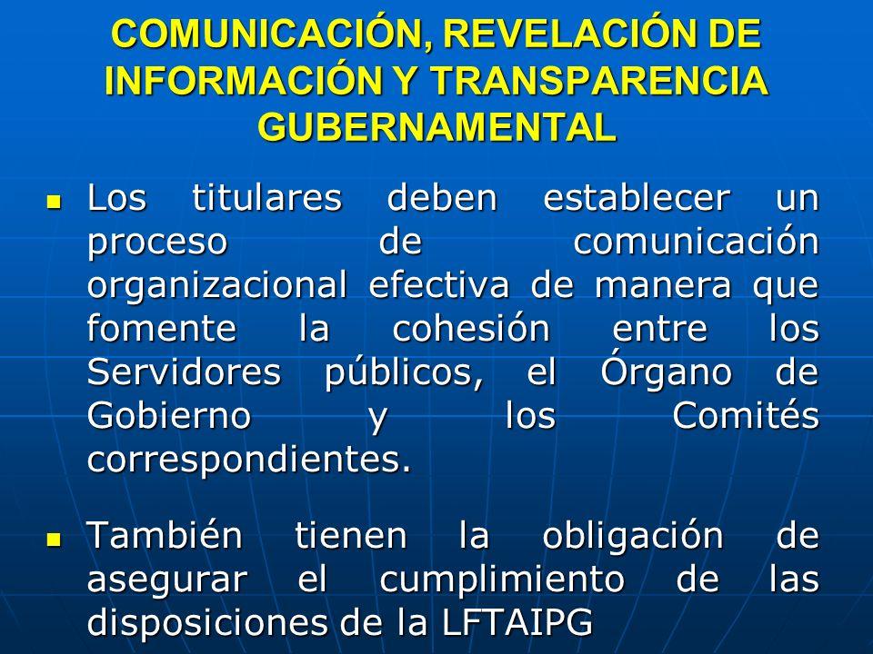 COMUNICACIÓN, REVELACIÓN DE INFORMACIÓN Y TRANSPARENCIA GUBERNAMENTAL