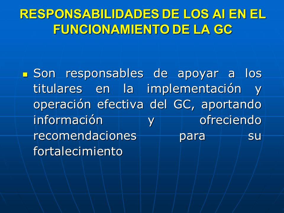 RESPONSABILIDADES DE LOS AI EN EL FUNCIONAMIENTO DE LA GC