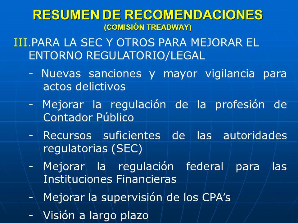RESUMEN DE RECOMENDACIONES (COMISIÓN TREADWAY)