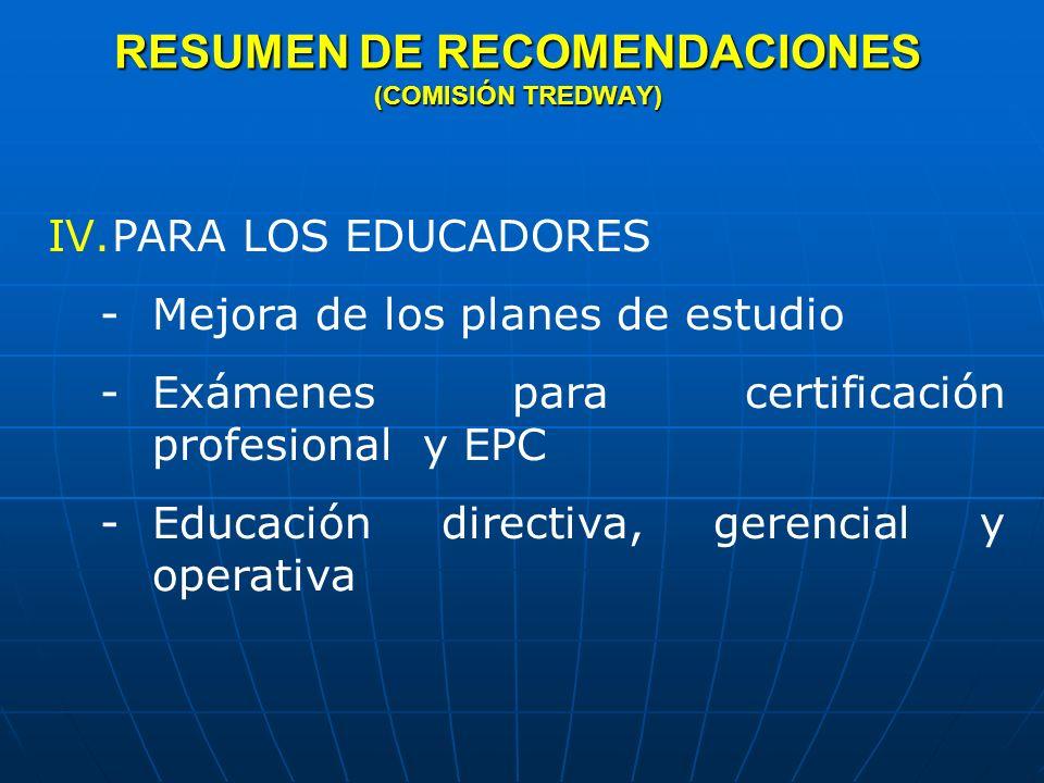 RESUMEN DE RECOMENDACIONES (COMISIÓN TREDWAY)