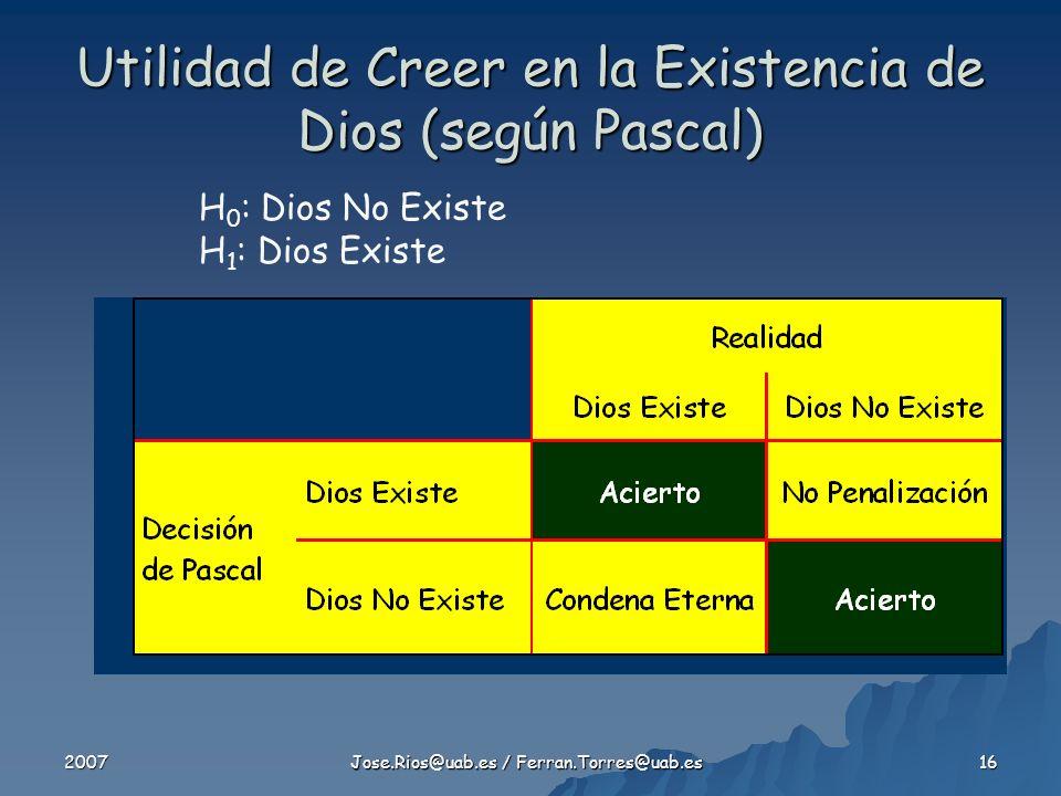 Utilidad de Creer en la Existencia de Dios (según Pascal)