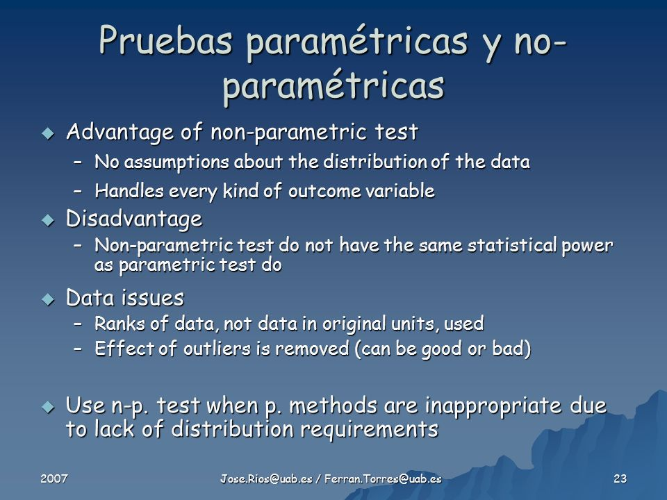 Pruebas paramétricas y no-paramétricas