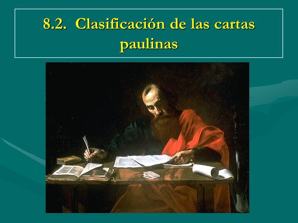 8.2. Clasificación de las cartas paulinas