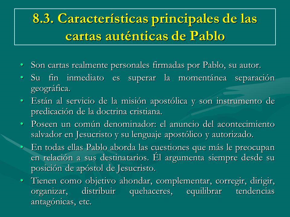 8.3. Características principales de las cartas auténticas de Pablo