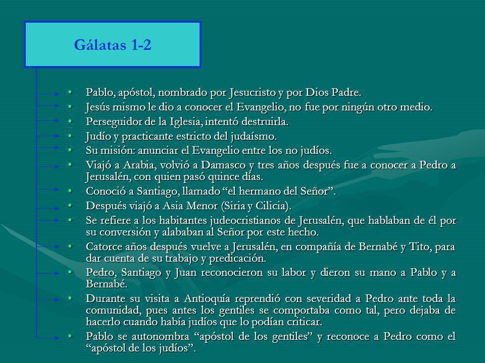 Gálatas 1-2 Pablo, apóstol, nombrado por Jesucristo y por Dios Padre.