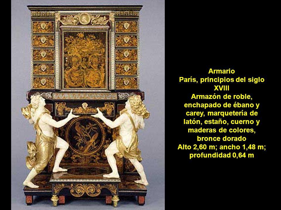 Armario París, principios del siglo XVIII Armazón de roble, enchapado de ébano y carey, marquetería de latón, estaño, cuerno y maderas de colores, bronce dorado Alto 2,60 m; ancho 1,48 m; profundidad 0,64 m