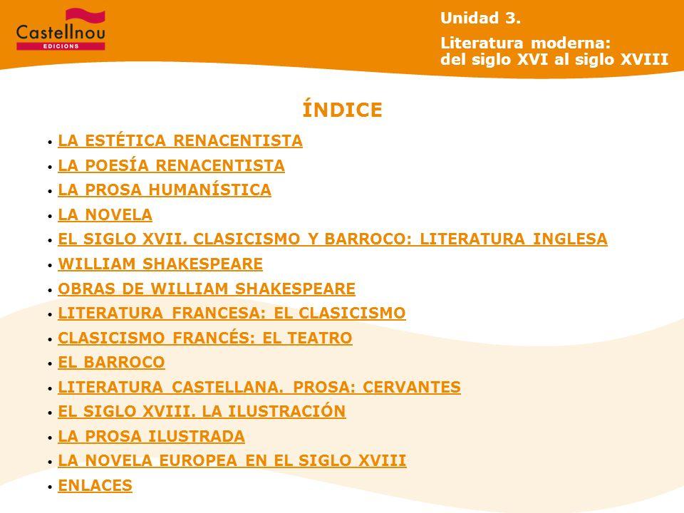 ÍNDICE Unidad 3. Literatura moderna: del siglo XVI al siglo XVIII