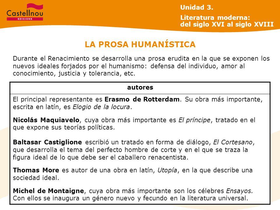 LA PROSA HUMANÍSTICA Unidad 3.