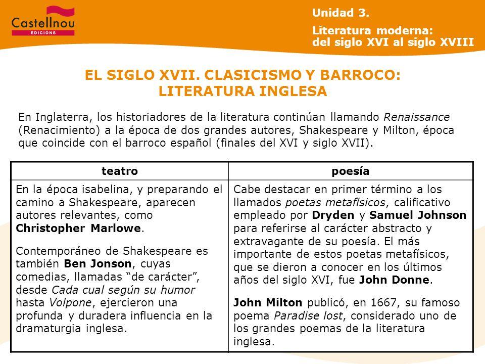 EL SIGLO XVII. CLASICISMO Y BARROCO: LITERATURA INGLESA