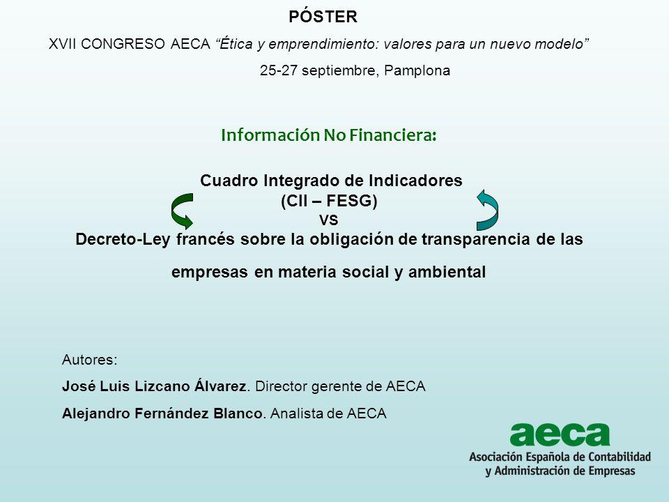 PÓSTER XVII CONGRESO AECA Ética y emprendimiento: valores para un nuevo modelo 25-27 septiembre, Pamplona.