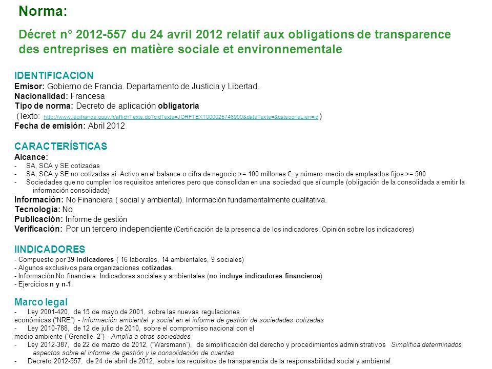Norma: Décret n° 2012-557 du 24 avril 2012 relatif aux obligations de transparence des entreprises en matière sociale et environnementale
