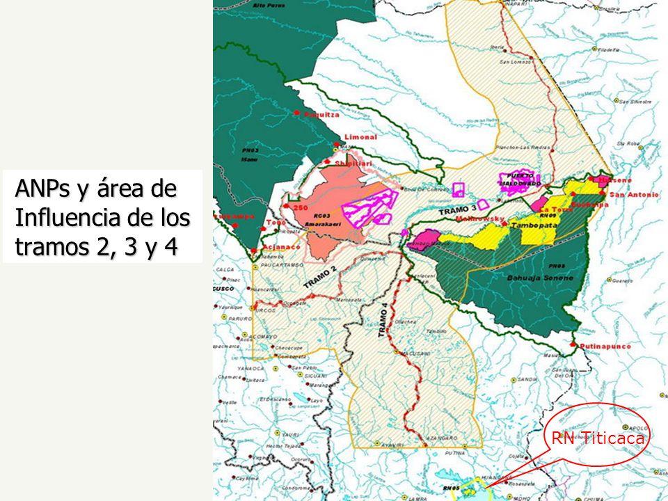 ANPs y área de Influencia de los tramos 2, 3 y 4