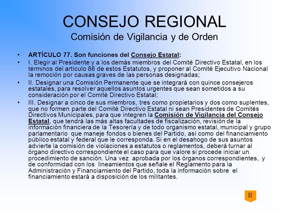 CONSEJO REGIONAL Comisión de Vigilancia y de Orden