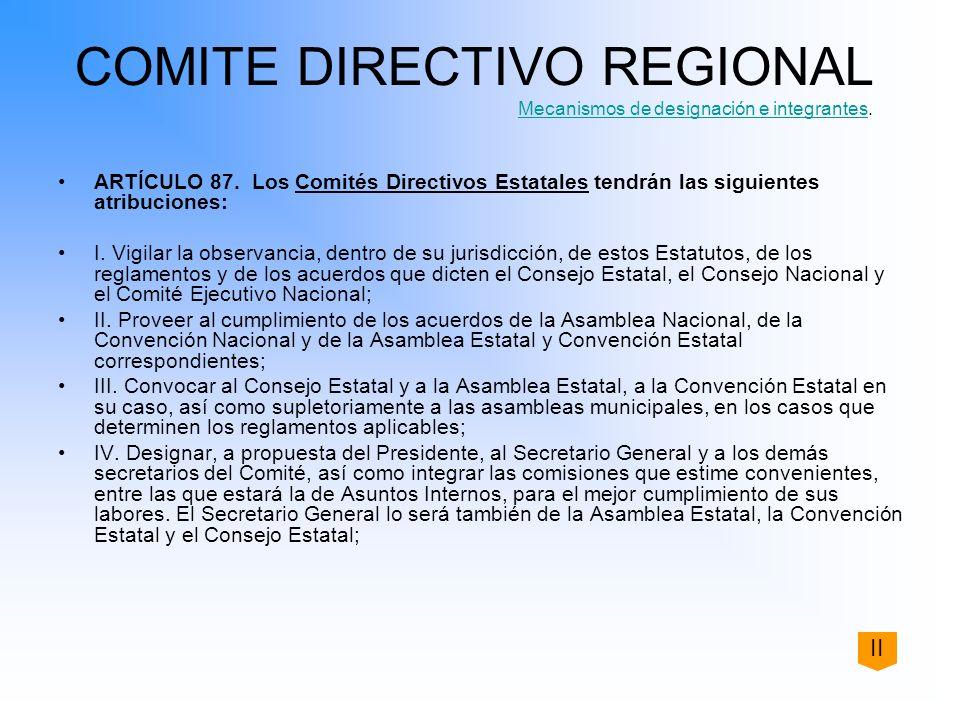 COMITE DIRECTIVO REGIONAL Mecanismos de designación e integrantes.