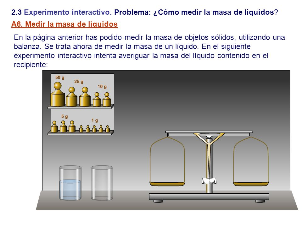 2.3 Experimento interactivo. Problema: ¿Cómo medir la masa de líquidos