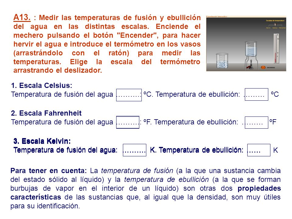 A13. : Medir las temperaturas de fusión y ebullición del agua en las distintas escalas. Enciende el mechero pulsando el botón Encender , para hacer hervir el agua e introduce el termómetro en los vasos (arrastrándolo con el ratón) para medir las temperaturas. Elige la escala del termómetro arrastrando el deslizador.