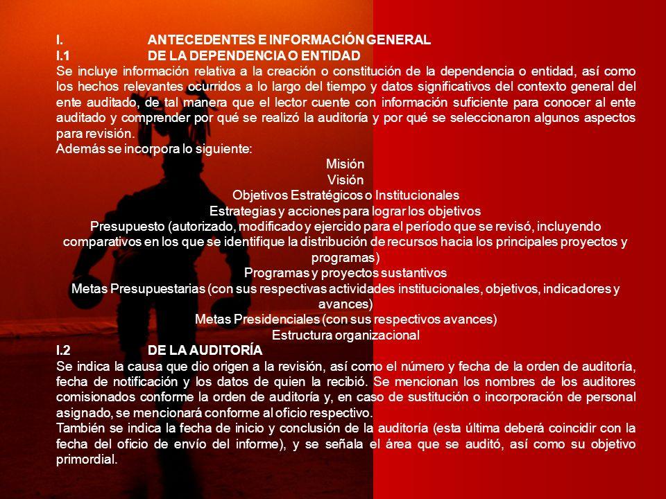 I. ANTECEDENTES E INFORMACIÓN GENERAL I.1 DE LA DEPENDENCIA O ENTIDAD