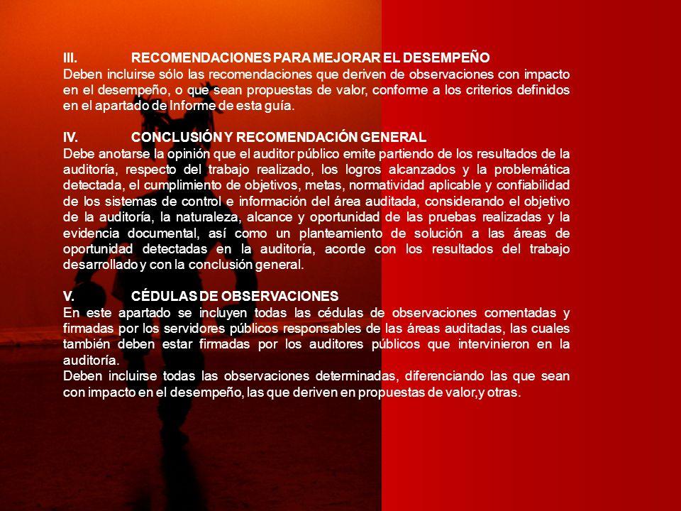 III. RECOMENDACIONES PARA MEJORAR EL DESEMPEÑO