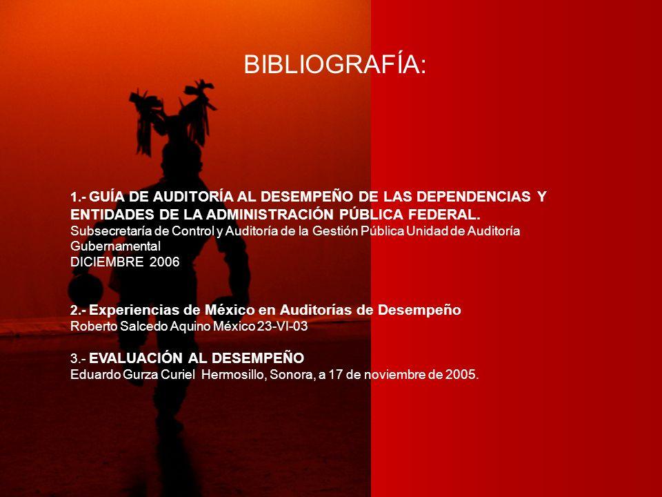BIBLIOGRAFÍA: 1.- GUÍA DE AUDITORÍA AL DESEMPEÑO DE LAS DEPENDENCIAS Y ENTIDADES DE LA ADMINISTRACIÓN PÚBLICA FEDERAL.