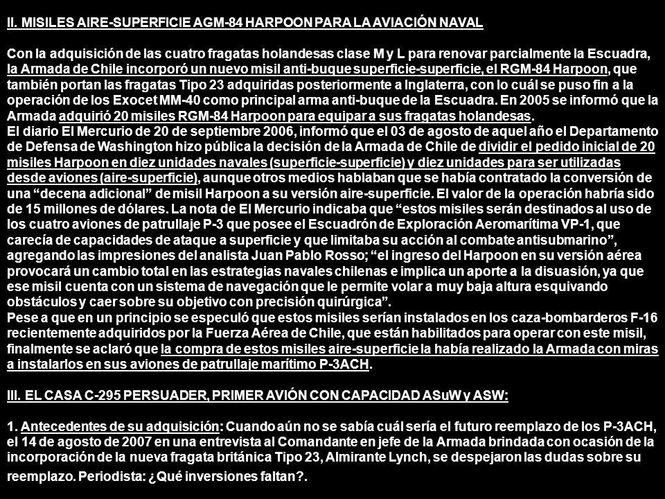 II. MISILES AIRE-SUPERFICIE AGM-84 HARPOON PARA LA AVIACIÓN NAVAL