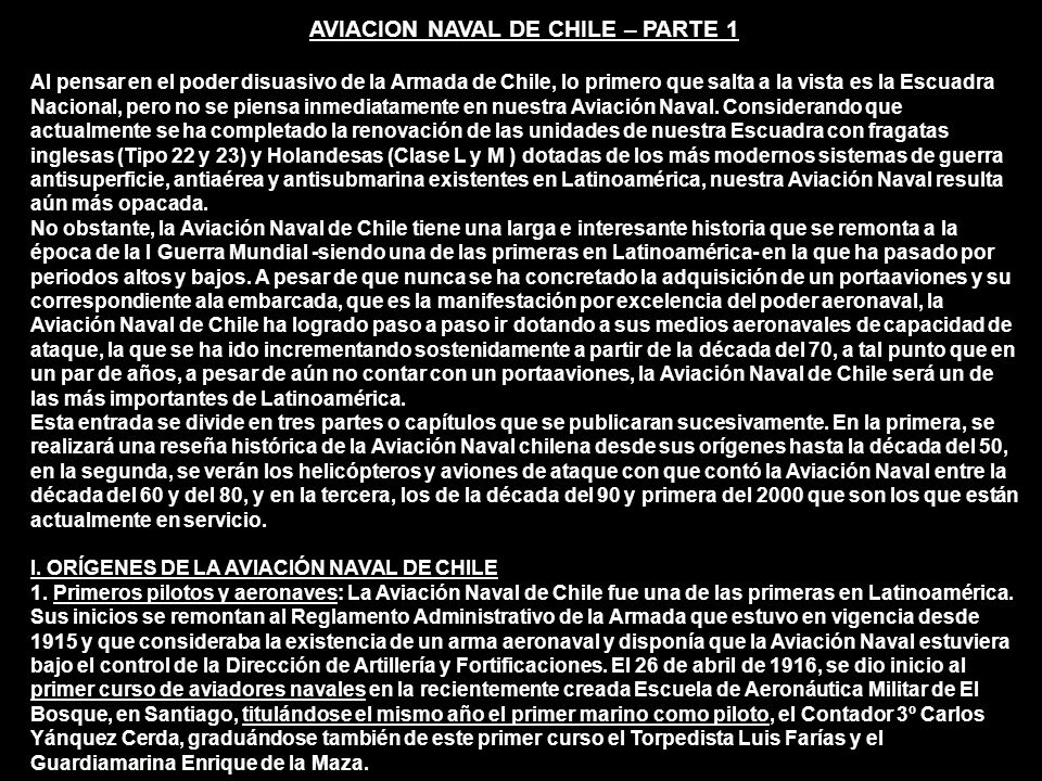 AVIACION NAVAL DE CHILE – PARTE 1