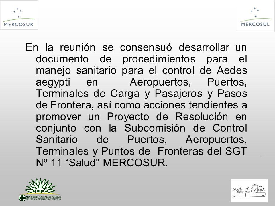 En la reunión se consensuó desarrollar un documento de procedimientos para el manejo sanitario para el control de Aedes aegypti en Aeropuertos, Puertos, Terminales de Carga y Pasajeros y Pasos de Frontera, así como acciones tendientes a promover un Proyecto de Resolución en conjunto con la Subcomisión de Control Sanitario de Puertos, Aeropuertos, Terminales y Puntos de Fronteras del SGT Nº 11 Salud MERCOSUR.