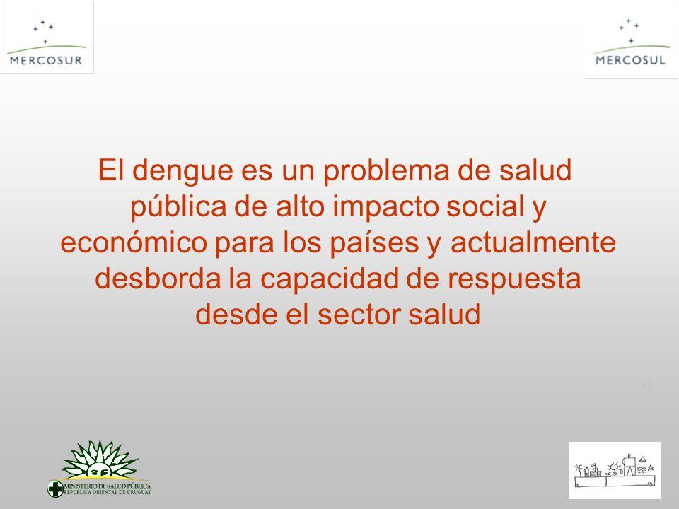 El dengue es un problema de salud pública de alto impacto social y económico para los países y actualmente desborda la capacidad de respuesta desde el sector salud