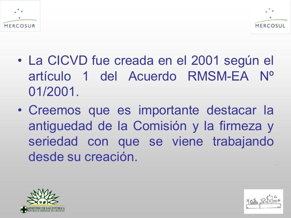La CICVD fue creada en el 2001 según el artículo 1 del Acuerdo RMSM-EA Nº 01/2001.