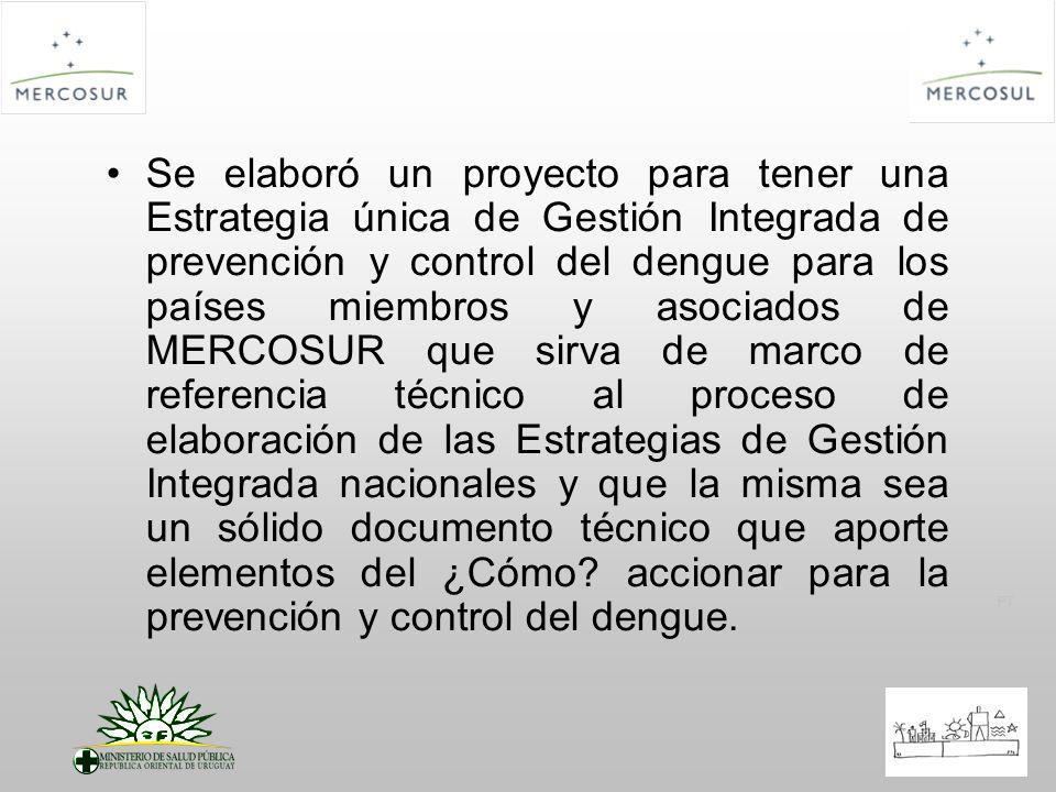 Se elaboró un proyecto para tener una Estrategia única de Gestión Integrada de prevención y control del dengue para los países miembros y asociados de MERCOSUR que sirva de marco de referencia técnico al proceso de elaboración de las Estrategias de Gestión Integrada nacionales y que la misma sea un sólido documento técnico que aporte elementos del ¿Cómo accionar para la prevención y control del dengue.