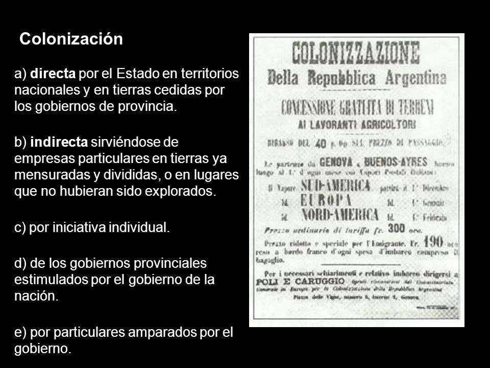 Colonización a) directa por el Estado en territorios nacionales y en tierras cedidas por los gobiernos de provincia.