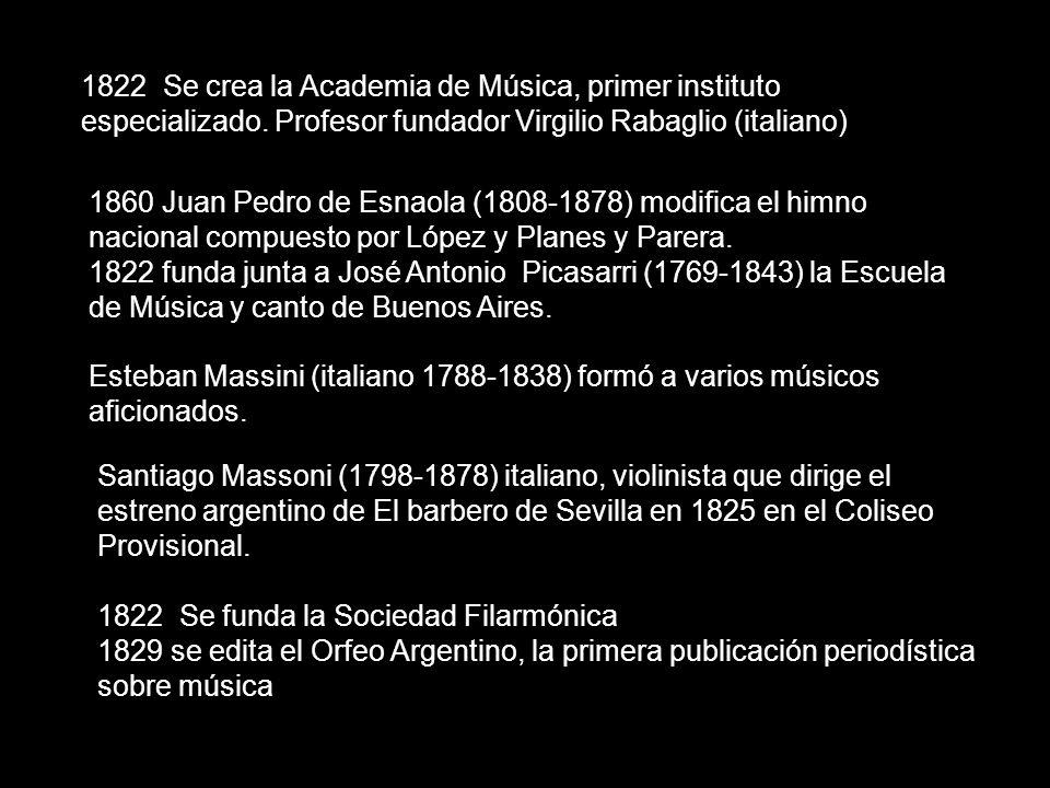 1822 Se crea la Academia de Música, primer instituto especializado