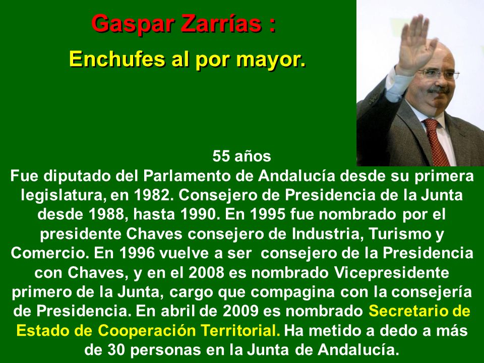 Gaspar Zarrías : Enchufes al por mayor.