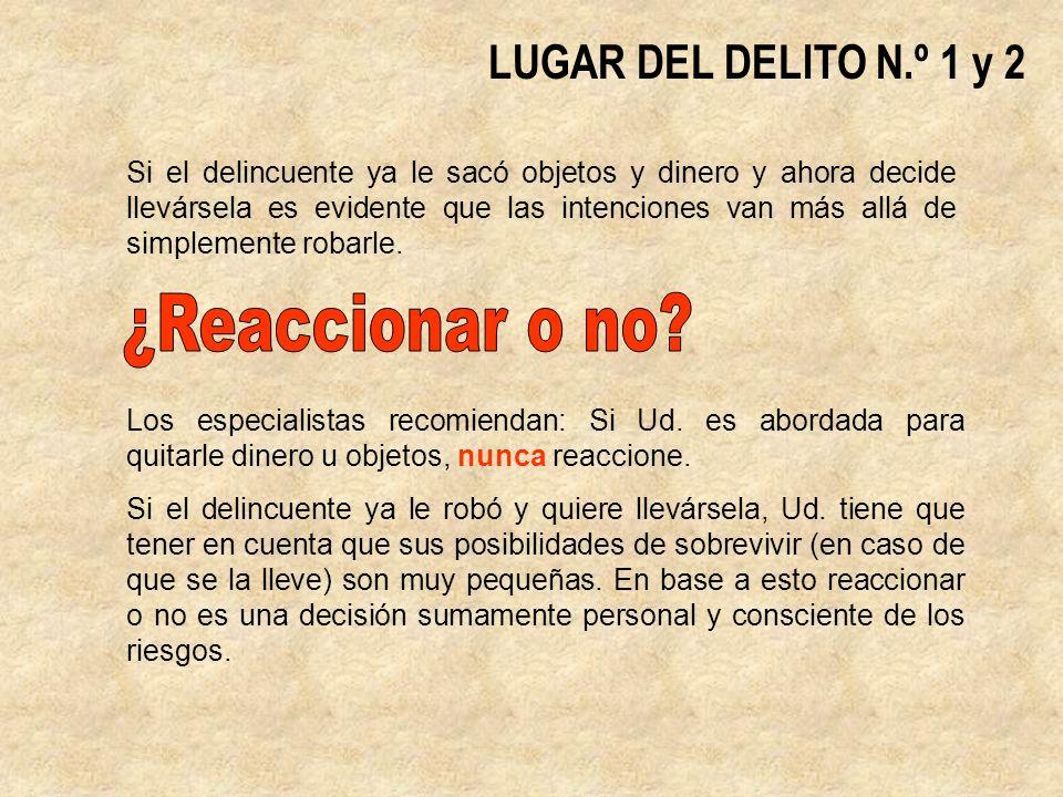 ¿Reaccionar o no LUGAR DEL DELITO N.º 1 y 2