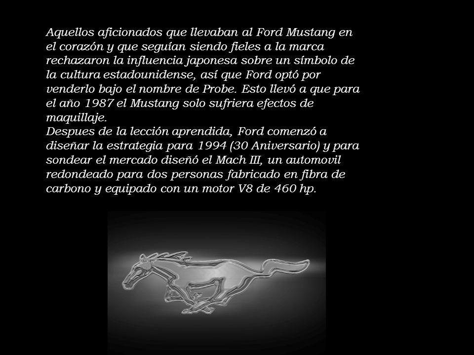 Aquellos aficionados que llevaban al Ford Mustang en el corazón y que seguían siendo fieles a la marca rechazaron la influencia japonesa sobre un símbolo de la cultura estadounidense, así que Ford optó por venderlo bajo el nombre de Probe. Esto llevó a que para el año 1987 el Mustang solo sufriera efectos de maquillaje.
