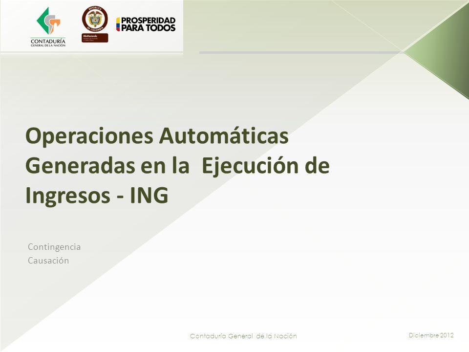Operaciones Automáticas Generadas en la Ejecución de Ingresos - ING