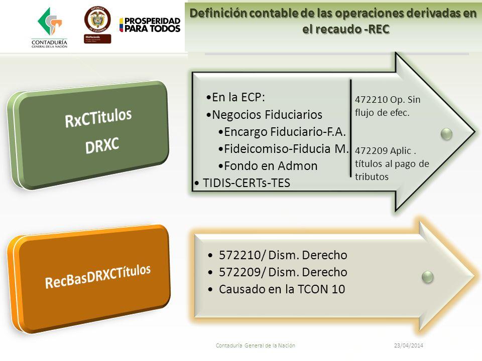 Definición contable de las operaciones derivadas en el recaudo -REC