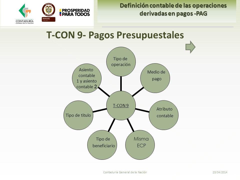 T-CON 9- Pagos Presupuestales