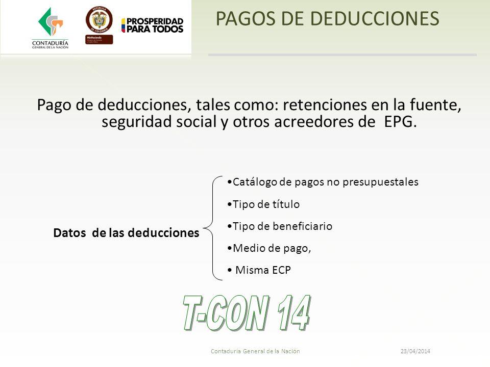 T-CON 14 PAGOS DE DEDUCCIONES