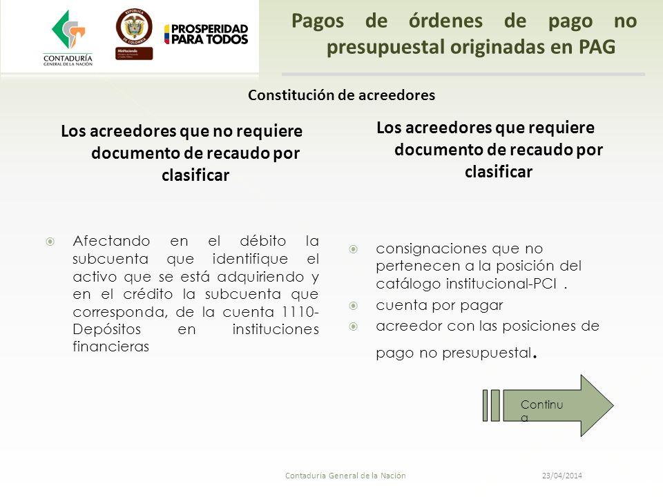 Pagos de órdenes de pago no presupuestal originadas en PAG