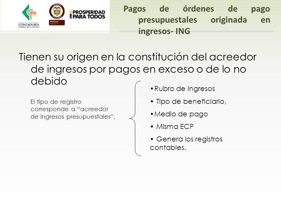 Pagos de órdenes de pago presupuestales originada en ingresos- ING