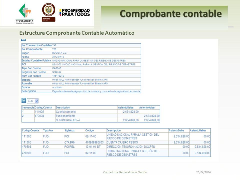 Comprobante contable Estructura Comprobante Contable Automático