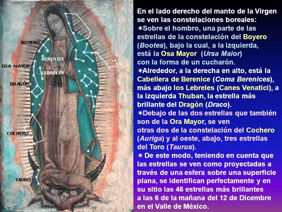 En el lado derecho del manto de la Virgen