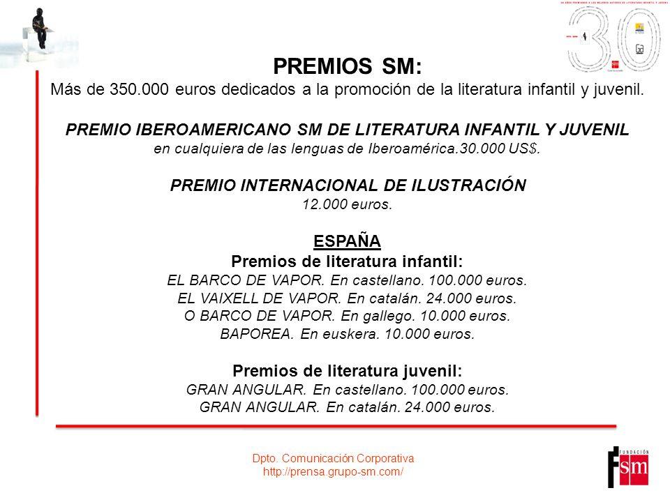 PREMIOS SM: Más de 350.000 euros dedicados a la promoción de la literatura infantil y juvenil.