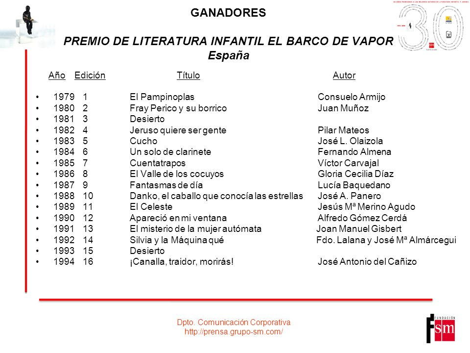 GANADORES PREMIO DE LITERATURA INFANTIL EL BARCO DE VAPOR España