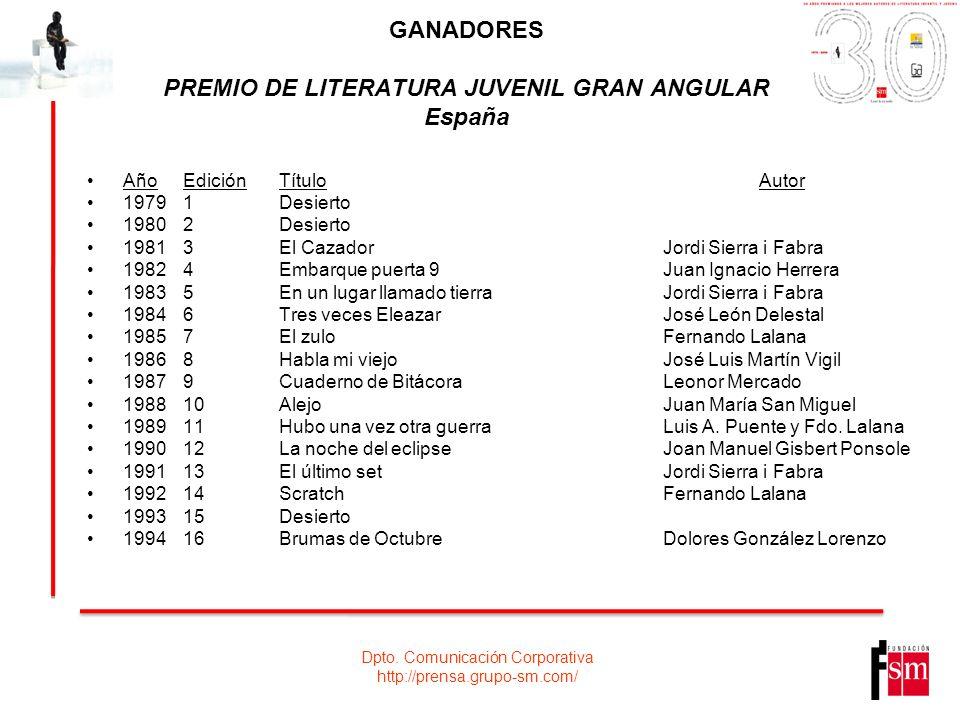 GANADORES PREMIO DE LITERATURA JUVENIL GRAN ANGULAR España