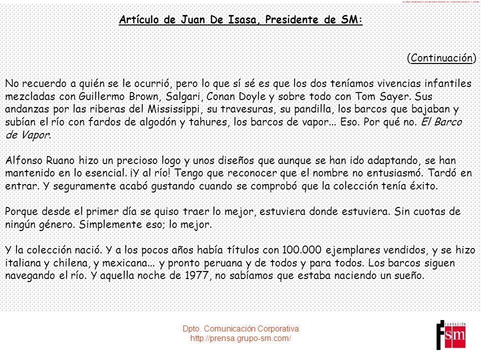 Artículo de Juan De Isasa, Presidente de SM: