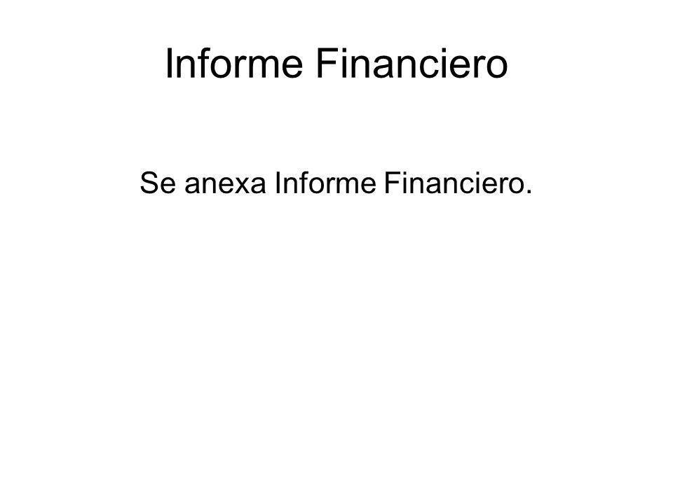 Se anexa Informe Financiero.