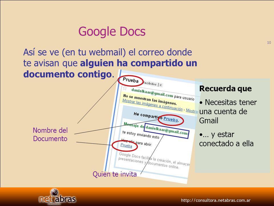 Google DocsAsí se ve (en tu webmail) el correo donde te avisan que alguien ha compartido un documento contigo.